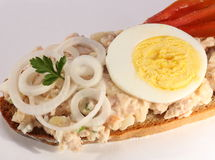 Open tuna salad sandwich Royalty Free Stock Photo