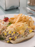 Open Tuna and Sweet corn Melt with Coleslaw. And Fries Royalty Free Stock Photo