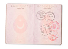 Open Turkish passport pages - clipping path. Turkish passport pages with various stamps (clipping path for maximum size Stock Photos