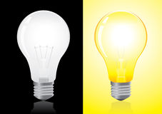 Open and turned off light. Bulb vector Royalty Free Stock Images