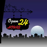 Open twenty four hours. Abstract colorful illustration with a plate with the text open twenty four hours hanging from the wall of a shop Royalty Free Stock Photos