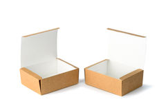 Open two cardboard Box or brown paper box  with soft sha Royalty Free Stock Photography