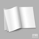 Open uitgespreid van boek met lege witte pagina'sillustratie Stock Fotografie