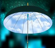 Open umbrella on rain and blue sky background. Royalty Free Stock Photo