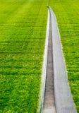 Open under artificial turf, floor soccer grass field, soft focus Stock Image