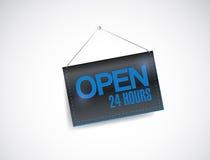 Open 24 uren die het ontwerp van de bannerillustratie hangen vector illustratie