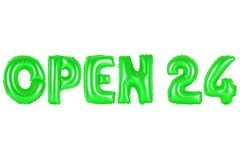 Open 24 uren, groene kleur Stock Fotografie