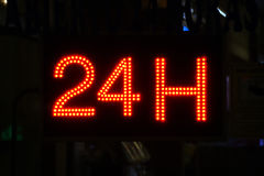 Open 24 uur, markt, apotheek, hotel, benzinepost, benzinestation 7 Royalty-vrije Stock Afbeeldingen