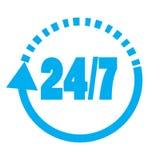 Open 24 uur per dag en 7 dagen per week pictogram vlak Stock Foto's