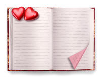 Open Valentine diary blank notebook royalty free stock images