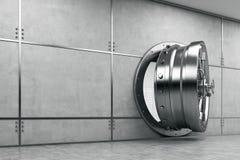 Open vault door in gray wall Stock Image