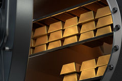 Open vault with a lot of gold bullions inside Royalty Free Stock Photo