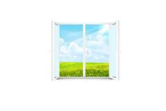 Open venster in een witte ruimte royalty-vrije stock afbeeldingen