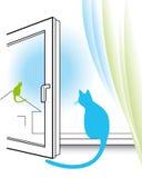 Open venster en twee katten Royalty-vrije Stock Afbeelding