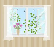 Open venster met gordijnen op een gestreepte achtergrond vector illustratie