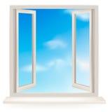 Open venster tegen een witte muur en de hemel royalty-vrije illustratie