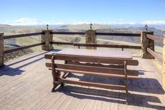 Open verandah of mountain cafe Stock Photo