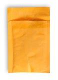 Open verwendete Draufsicht des gelben Umschlags Lizenzfreie Stockfotografie