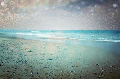 Open view of beach and bokeh lights abstract background. dreamy effect. stock illustration