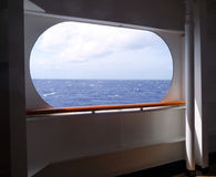 Open view to ocean from side of ship Royalty Free Stock Photo