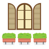 Open Vintage Arc Window With Pot Plants Below Stock Image