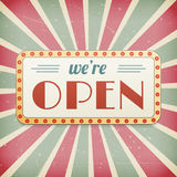 We are open vintage background sign Royalty Free Stock Image