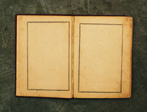 Open vintage book. Closeup of open vintage book with blank yellowing pages stock photography
