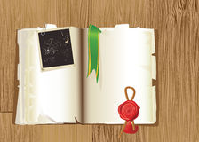 Open vintage Book with bookmark and stamp isolated Royalty Free Stock Image