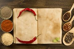 Open vintage book with spices on wooden background. Healthy vegetarian food. Recipe, menu, mock up, cooking. Stock Photos