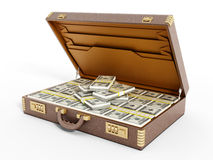 Open vintage briefcase full of money Royalty Free Stock Photo