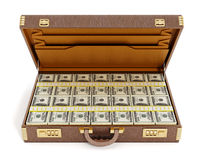Open vintage briefcase full of money Stock Photo