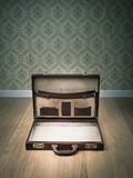 Open vintage briefcase Stock Photography