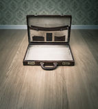 Open vintage briefcase Royalty Free Stock Image