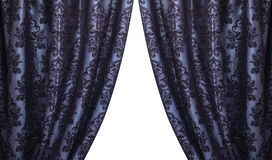 Open vintage dark blue curtains Stock Photos
