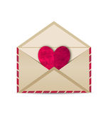 Open vintage envelope with paper grunge heart Stock Image