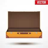 Open Vintage leather travel Suitcase. Vector Illustration  on white background Stock Photos