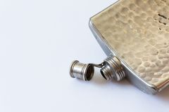 Open vintage metal flask isolated on white, drinking alcoholism addiction concept. Copy space, horizontal aspect Royalty Free Stock Photos
