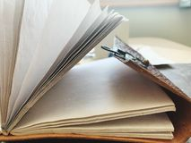 Open Vintage Notebook Side View royalty free stock photos