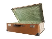 Open vintage  old leather suitcase Stock Photos