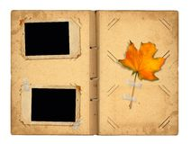 Open vintage photoalbum for photos with autumn foliage Stock Images