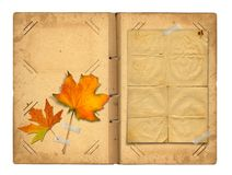 Open vintage photoalbum for photos with autumn foliage Royalty Free Stock Photos