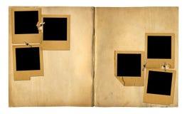 Open vintage photoalbum for photos on isolated background Stock Photos
