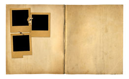 Open vintage photoalbum for photos on isolated background stock images