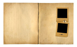 Open vintage photoalbum for photos on isolated background royalty free stock photos