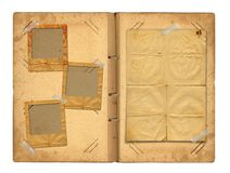 Open vintage photoalbum for photos. On white isolated background Royalty Free Stock Images