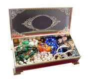 Open vintage red jewelry box, isolated on white background Stock Photography