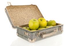 Open vintage suitcase with fruit Royalty Free Stock Photos