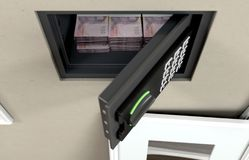 Open Wall Safe And Banknotes. A wall safe with stacks of thai bhat banknote piles revealed behind a hanging framed picture on a wall in a house - 3D render stock photo