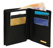 An open wallet. With credit cards and some notes isolated on white Stock Photo