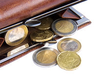 Open wallet with coins Royalty Free Stock Images